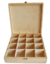 Pine Wood 16 Compartment Tea Box With Clasp